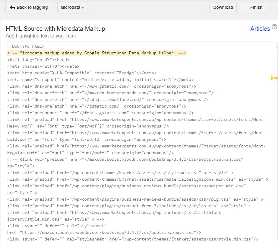 Create HTML for Schema